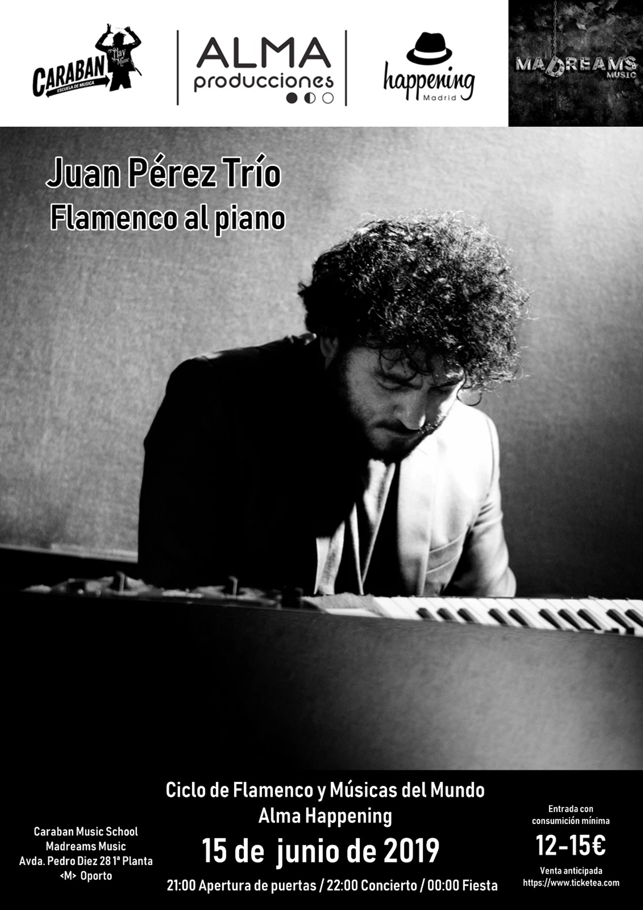 cartel juan perez flamenco 15 de junio - Juan Pérez Trío, Flamenco al piano con el Ciclo Alma Happening en Caraban Music School