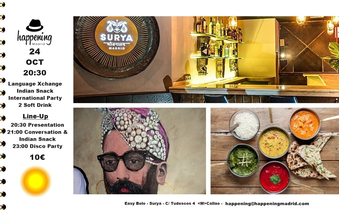 Language Exchange, Indian Snack & Disco Party at Easy Bolo – Surya