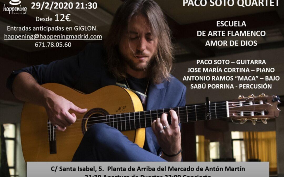 Sábado de flamenco, fusión y mestizaje: Paco Soto Quartet en Amor de Dios en el Mercado de Antón Martín