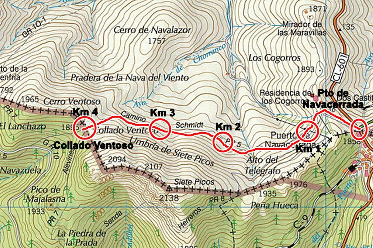 navacerrada al cerro ventoso - Excursión Pto de Navacerrada - Pto de la Fuenfría - Collado Ventoso por el camino Smichdt